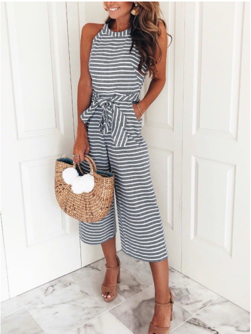 1b582587265c Striped Vacation Casual Jumpsuit – Bellalike