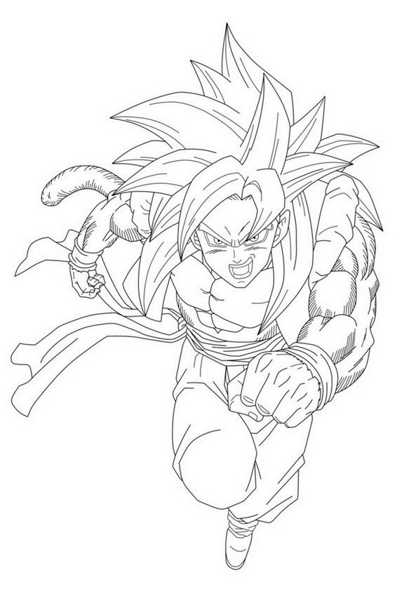 Coloriage Dragon Ball Gt Sangoku Super Sayen 4 A Imprimer Free