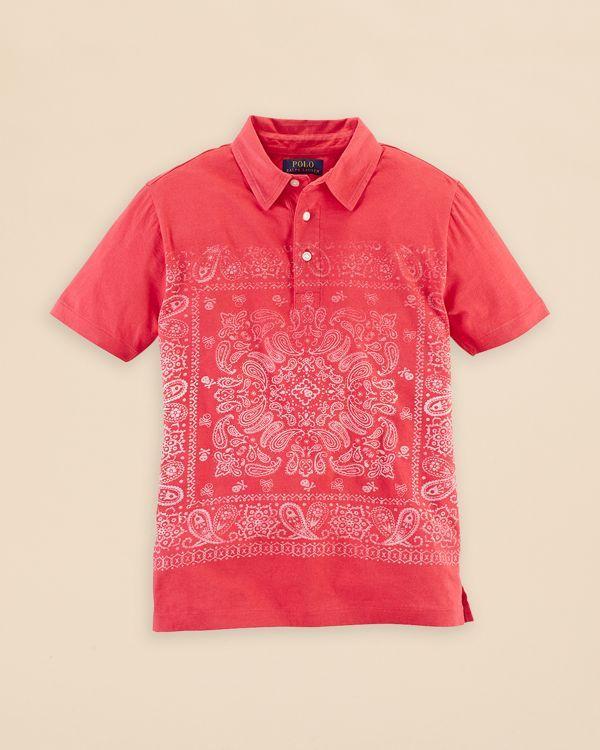 1fd760cf8 Ralph Lauren Childrenswear Boys' Bandana Print Polo Shirt - Sizes S ...