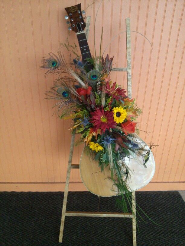 Guitar Arrangement Sympathy Flowers Funeral Floral