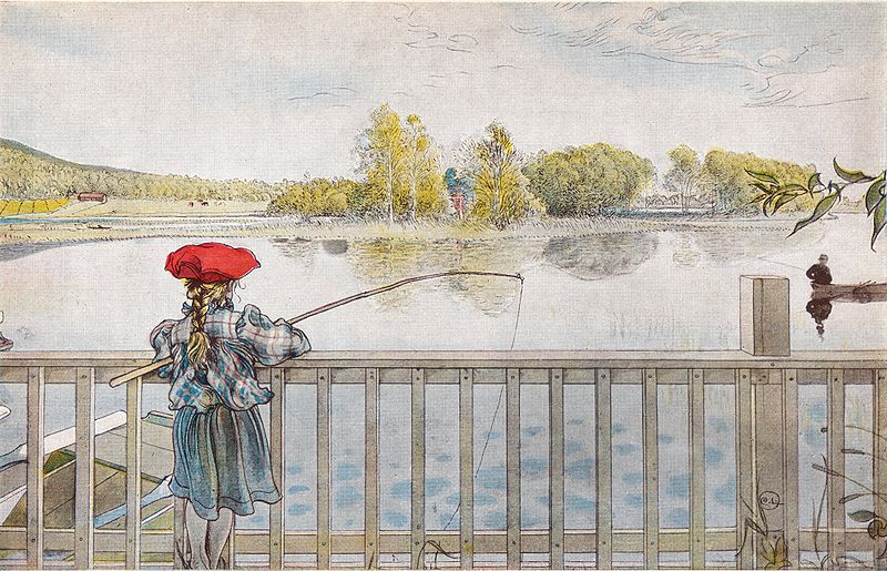 Lisbeth Fishing Carl Larsson Art Print By Cowboyannie