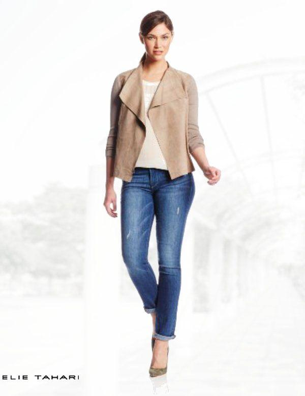 903d86981 Elie Tahari Women's Judy Soft Suede Waterfall Jacket | Coats