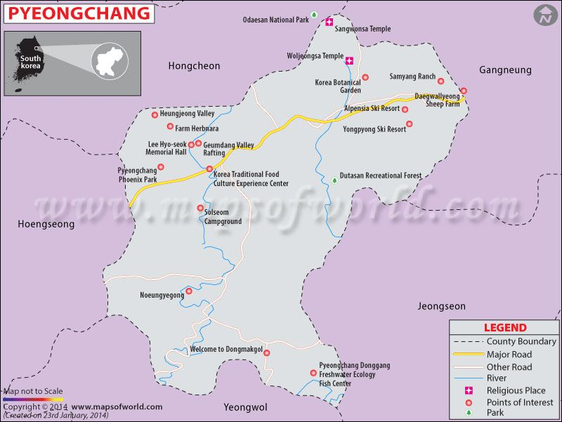 Pyeongchang Map Map of Pyeongchang Winter Olympics 2018 Koreans