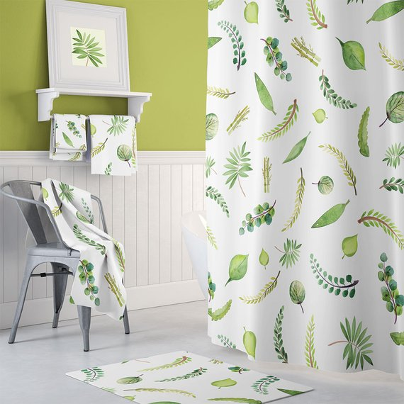 Extra Long Shower Curtain Botanical Green Curtains Shabby Chic Bathroom Decor Cottage