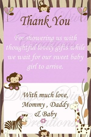 Baby Thank You Card Wording Baby Shower Invite Thank You