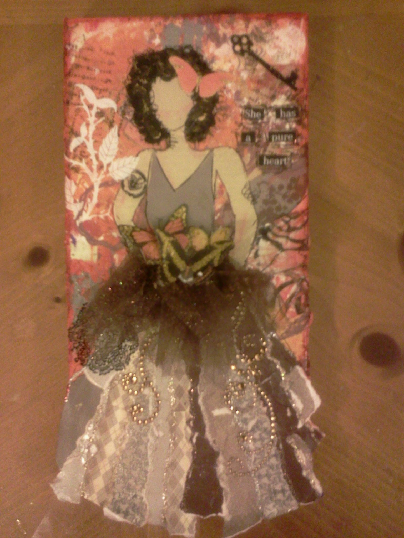 She has a pure heart. July 2012. Carla Bange. Inspired by the art of Julie Nutting from her book Collage Couture.