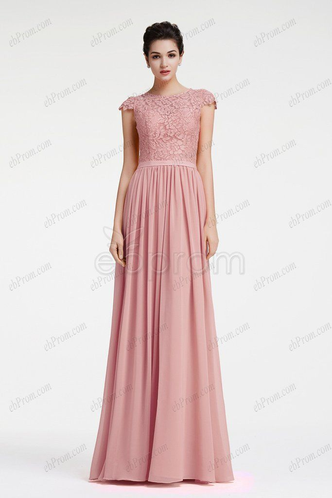 Dusty pink bridesmaid dresses with cap sleeves | Vestidos damas de ...