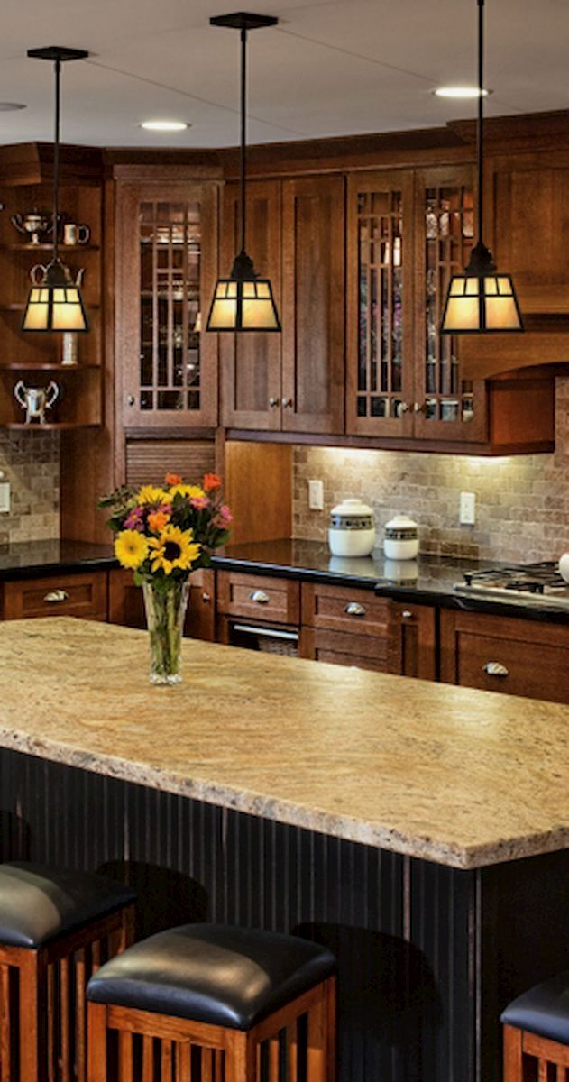 Beautiful kitchen backsplash with dark cabinets  - CLICK PIC for
