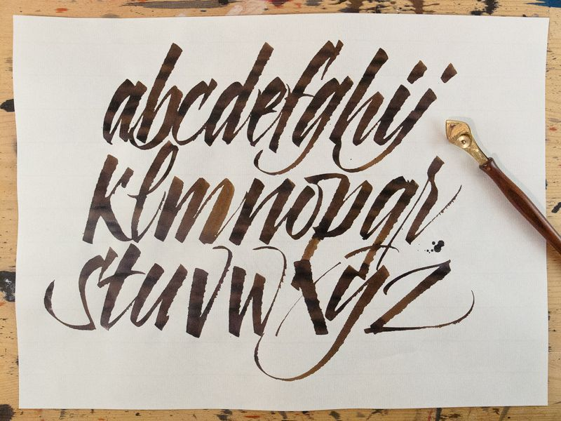 Ruling pen alphabet calligraphy calligraphy letters and fonts