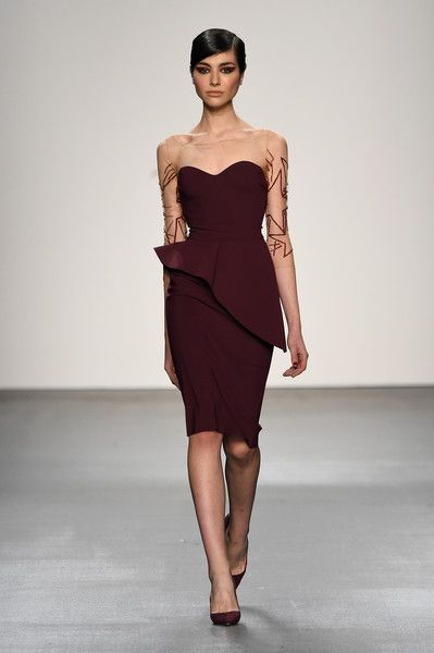 A model walks the runway wearing Chiara Boni La Petite Robe Fall 2016  during New York Fashion Week  The Shows at The Dock 9fa117befa2