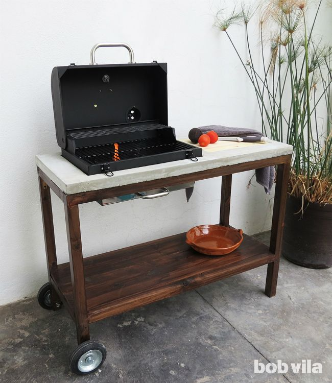 This Diy Outdoor Kitchen Includes A Concrete Countertop Built In Cutting Board And Storage All You Could Possibly Need For Your Next Bbq