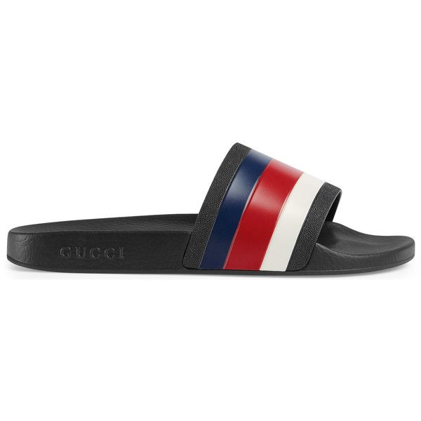 9596f10ab6e Gucci Rubber Slide Sandal (€200) ❤ liked on Polyvore featuring shoes