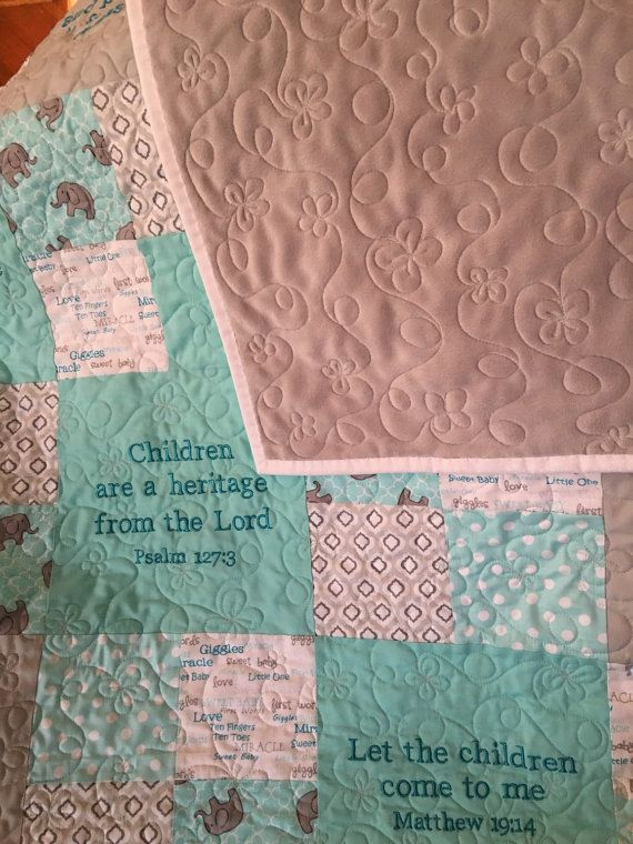 Baby Quilt with Embroidered Scripture by CreativeQuiltsByViv