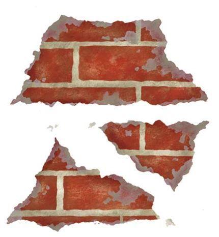 Triple Crumbling Brick Stencils Brick Wall Brick