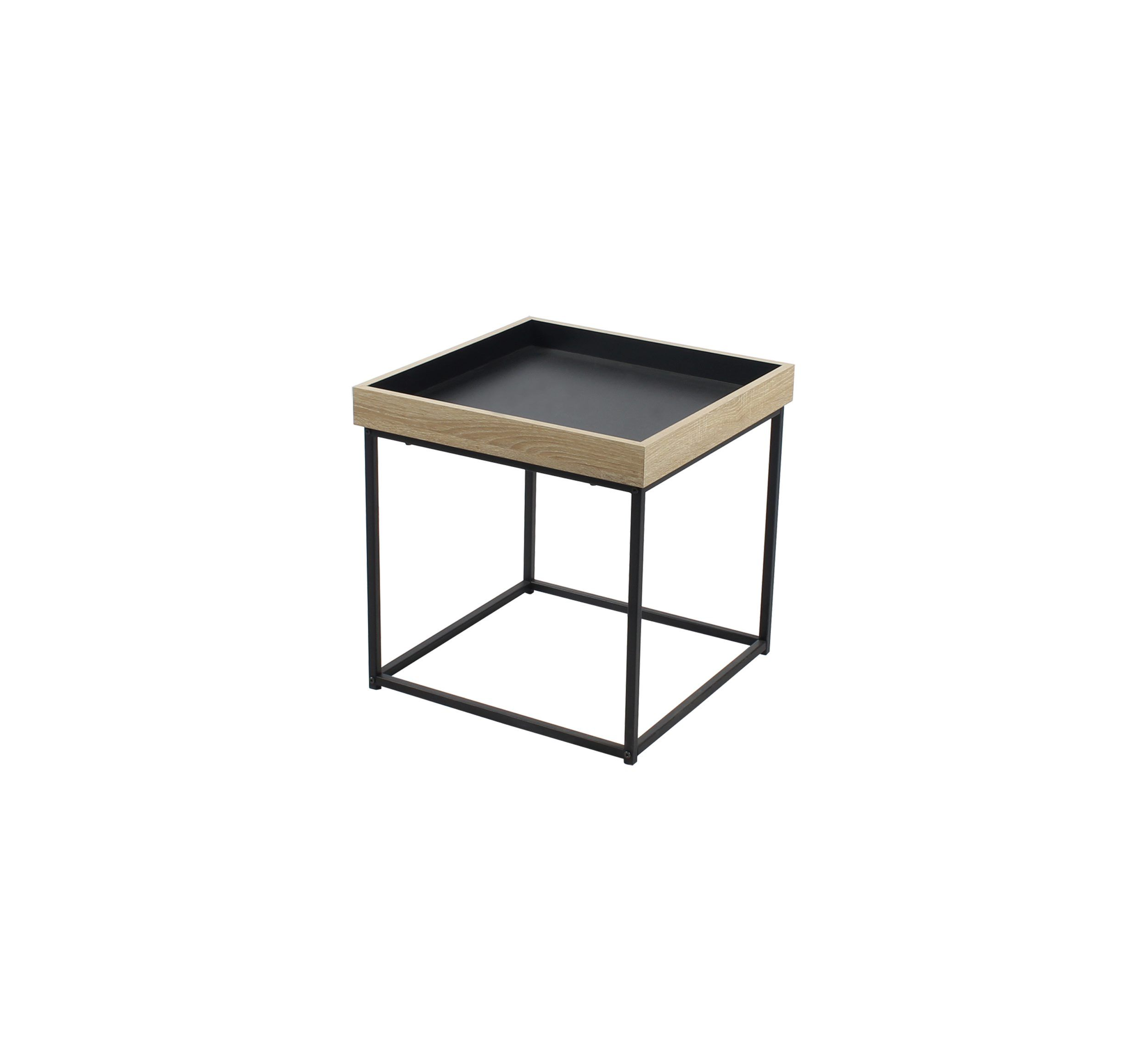 Table Basse Carree Ania Industrielle Chene Noir Meuble Canape