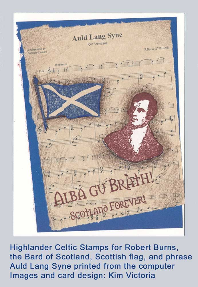 Scotland Robert Burns Rubber Stamp Set Robbie Flag And Forever Phrase Assembled As A Group At Lower Price Point