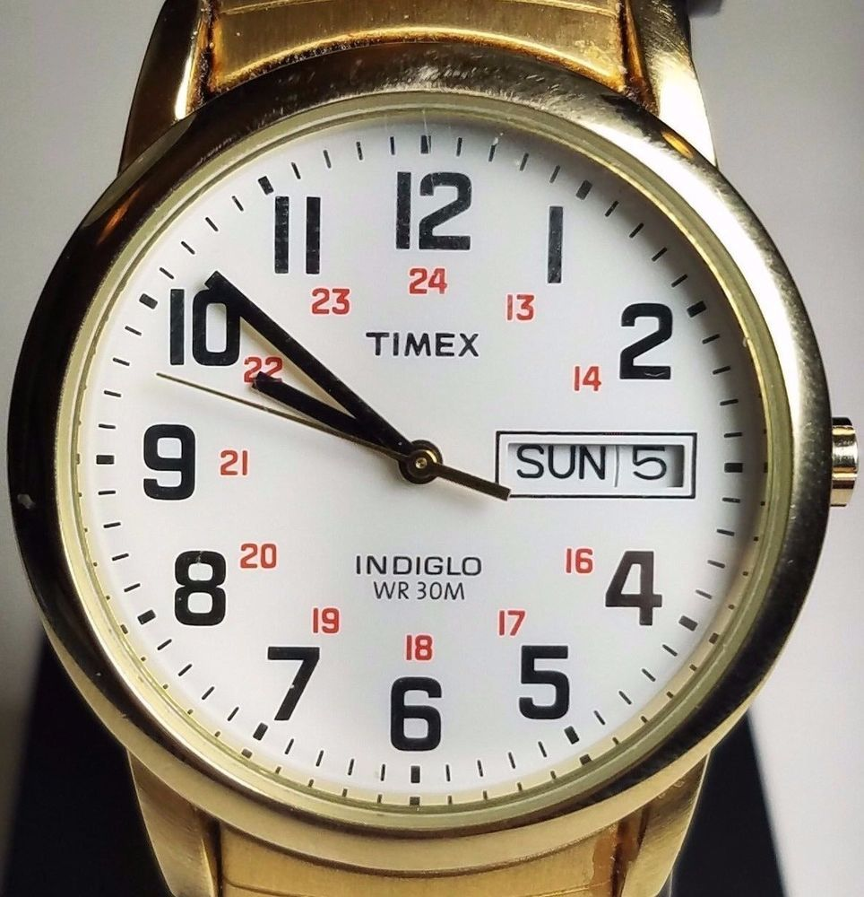 a620b21ec Mens Timex Indiglo Easy Reader Gold Tone Stretch Expansion Day Date Watch  T20471…
