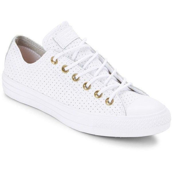 White converse shoes, White leather