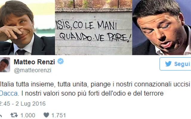I nostri valori forti ed i tanti morti poveri innocenti saranno anche forti i nostri valori come scrive Renzi, ma ci lasciano indifferenti e disarmati di fronte a tanti poveri morti innocenti. Finché continueremo a declassare la guerra santa che l'islam c