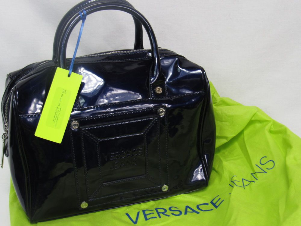 72100dec920 Authentic VERSACE Italy Jeans Navy Blue Patent Leather Large Bowler NWT # Versace #Satchel I love this one!!!