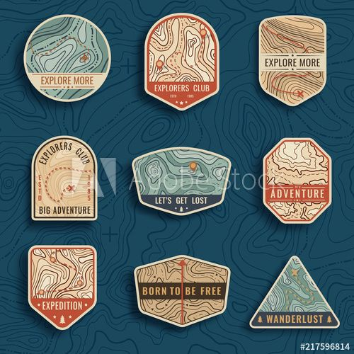 Set of nine topographic map travel emblems. Outdoor adventure emblems, badges and logo patches. Forest camp labels in vintage style. Map pattern with mountain texture and grid #Ad , #affiliate, #adventure, #Outdoor, #badges, #patches, #logo