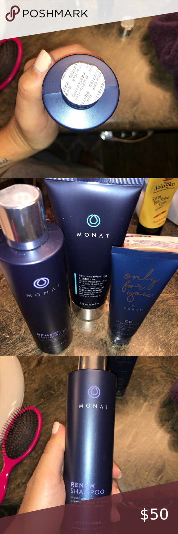Monat shampoo Brand new Monat renew shampoo, hydrating conditioner, and styling creme. Never opened! Selling because my hair has become use to the shampoo and needs a change, and I don't want any of this to just get thrown out. Monat Accessories Hair Accessories