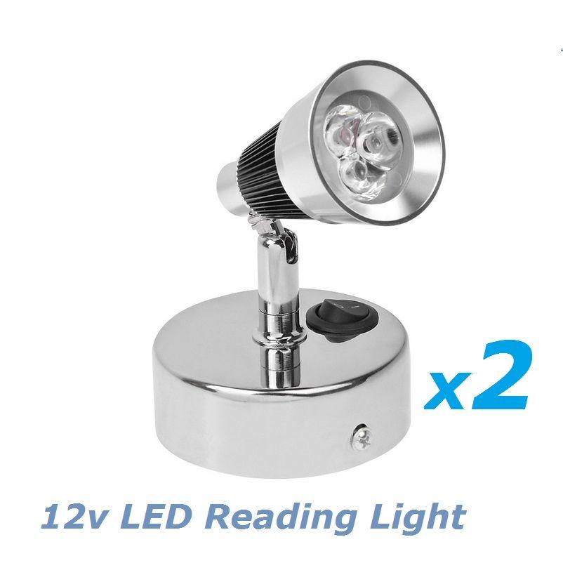 2x12 볼트 DC LED 회전 독서 침대 옆 조명 차가운 흰색 도금 자료 RV/캐러밴/캠핑 트레일러 인테리어 벽 램프