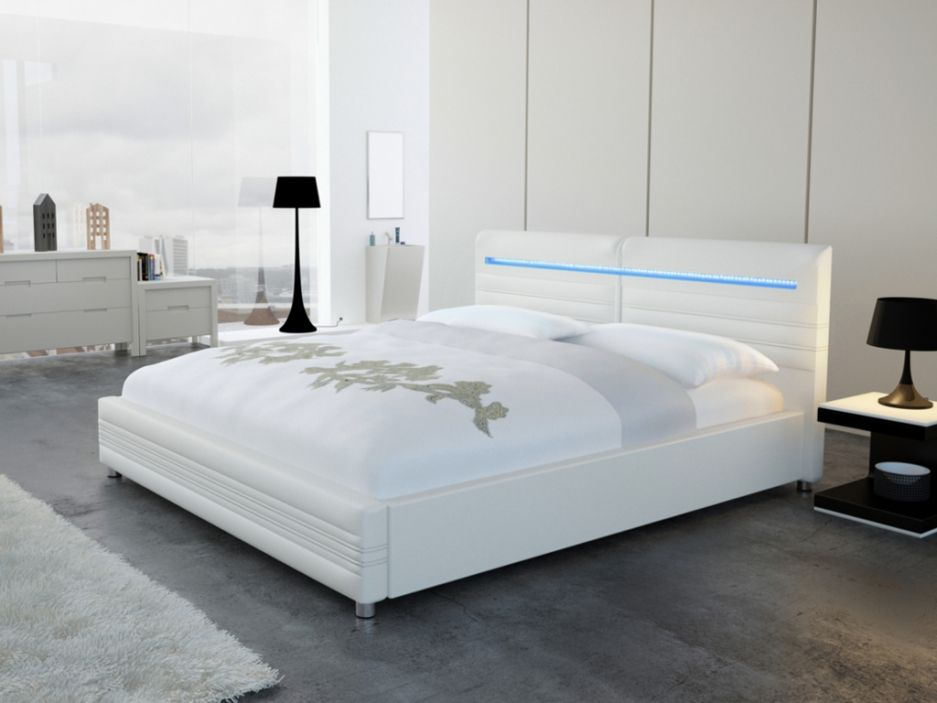 lit reflexion 160x200cm simili blanc avec leds lits rangements pinterest lit adulte. Black Bedroom Furniture Sets. Home Design Ideas