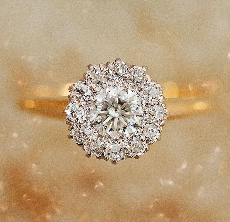 Antique Flower Cluster Diamond Engagement Ring. 4,675.00