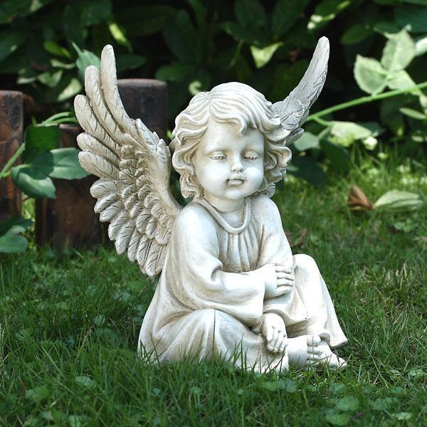 Sitting Angel Cherub Garden Statue Lawn Memorial Decor In