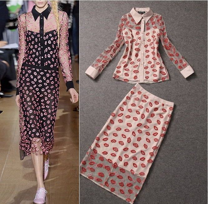 Celeb Sexy Red Embroidery Lips Clear Shirt/Top+Mid Skirt Set Nude/Black