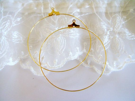 Hoop Earrings Gold Plated Hoop Earrings Brass Earrings by vess65, $4.70