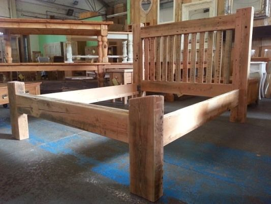 chunky reclaimed pine king size bed frame - Wooden King Size Bed Frame