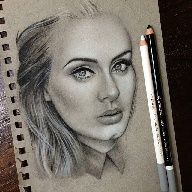 @drawberryart created this beautiful portrait of Adele using @stabilo…