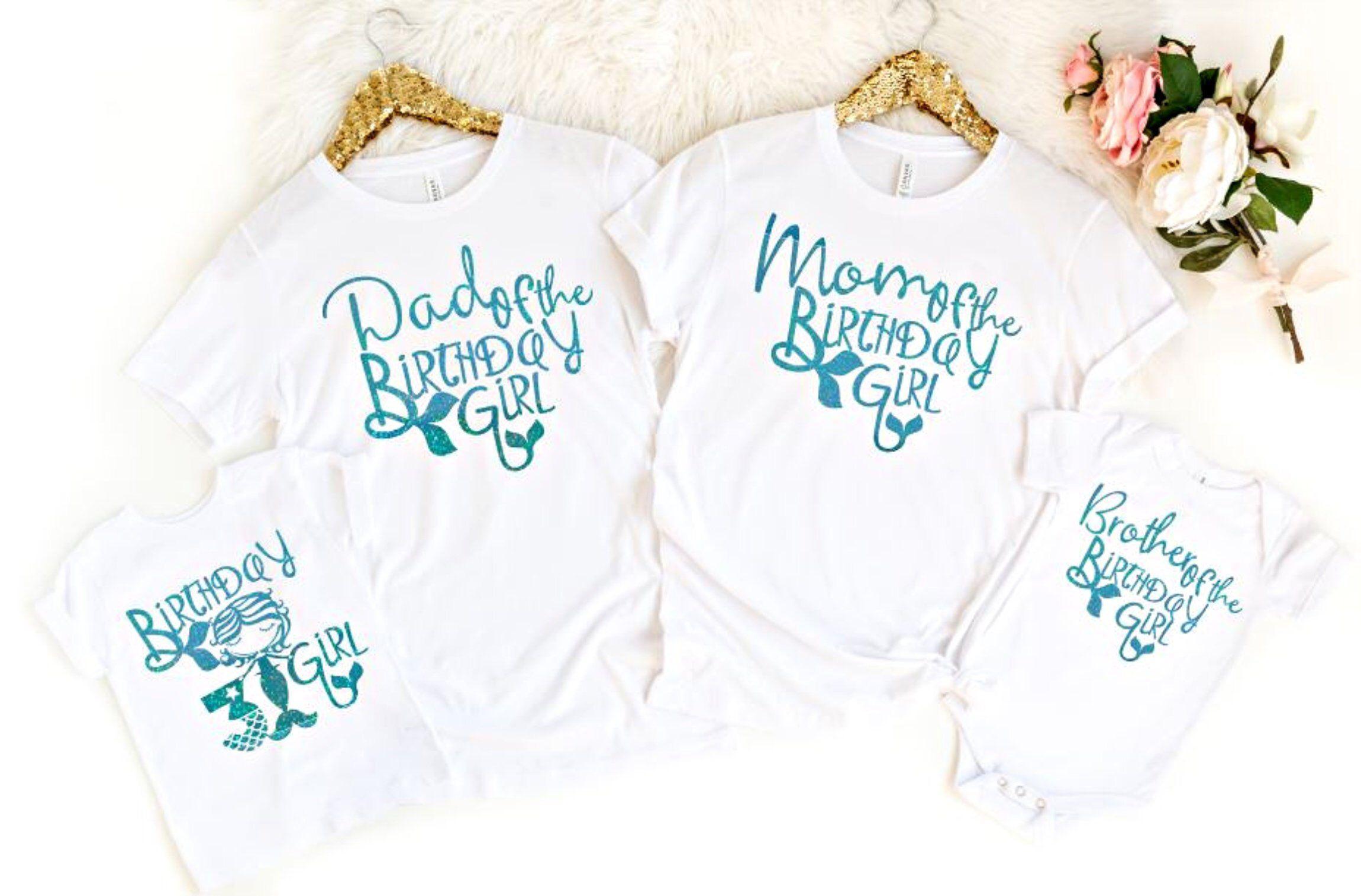 Mermaid Birthday Family Shirts Mermaid Shirt Dad of