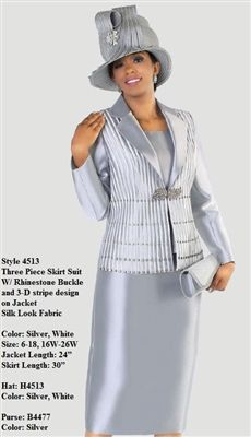 """e98fe19afe421b Tally Taylor 4513 3 piece Skirt Suit Colors: Silver, White Jacket Length:  24"""" Skirt Length: 30"""" Sizes: 6, 8, 10, 12, 14, 16, 16W, 18, 18W, 20W, 22W,  24W, ..."""