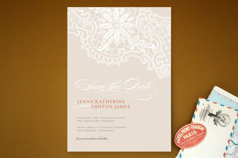 White Lace Save the Date Cards by Palm Papers at minted.com
