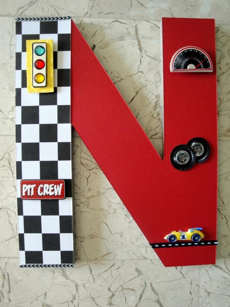 Race Car Custom Name Letters Nascar Race Car Custom Wall Etsy Cars Room Car Room Decor Race Car Room