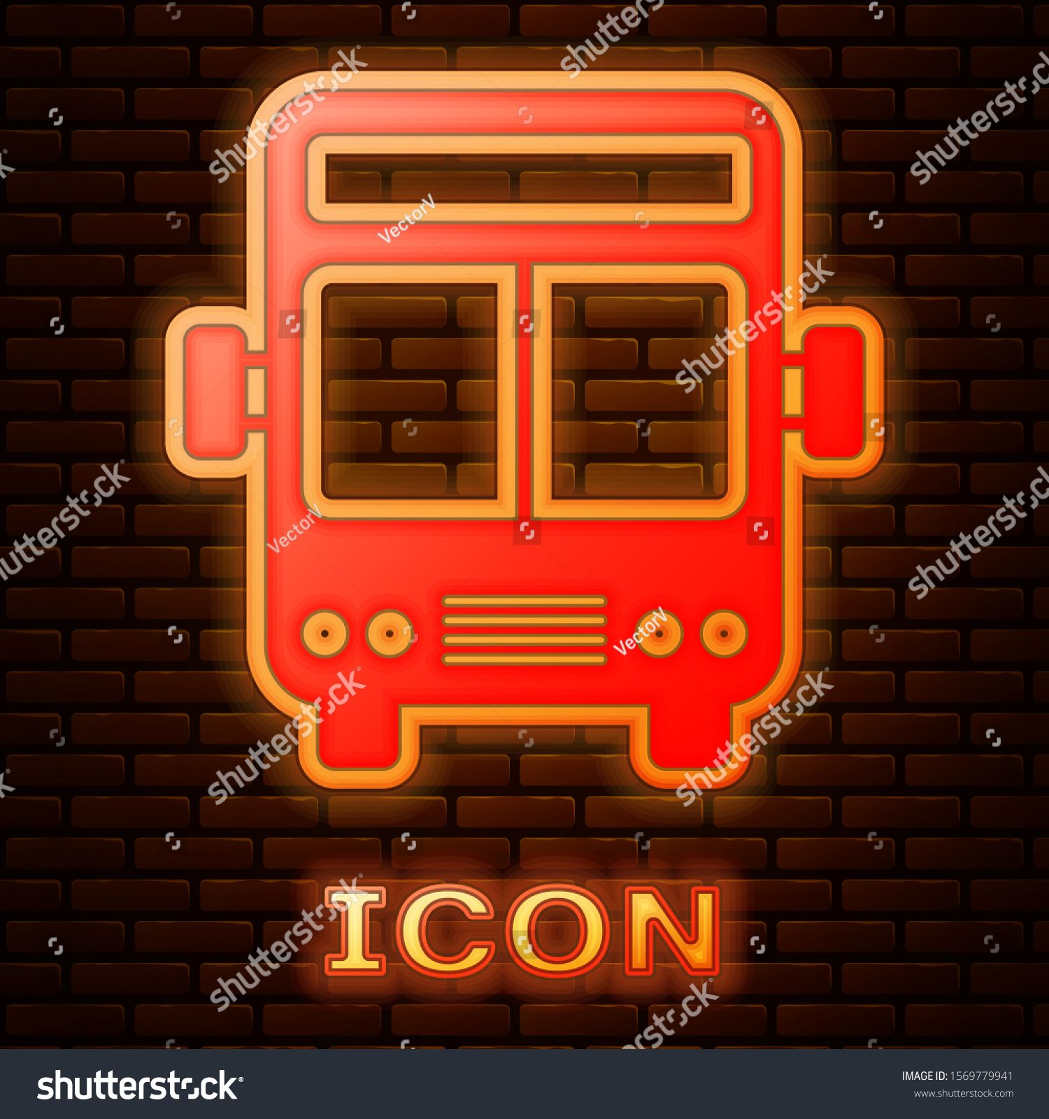 Glowing neon Bus icon isolated on brick wall background