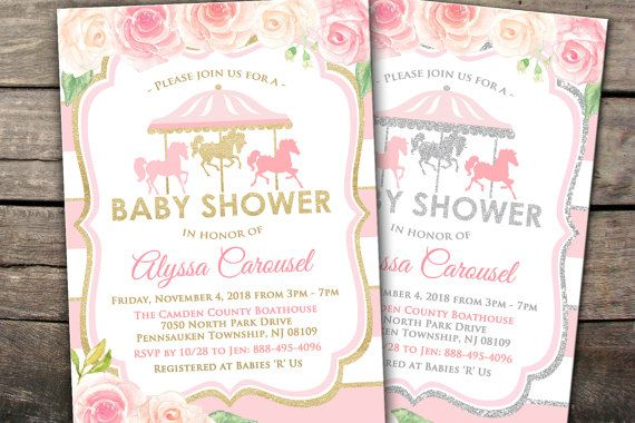 10 Off Printed Or Digital Carousel Baby Shower Invitation