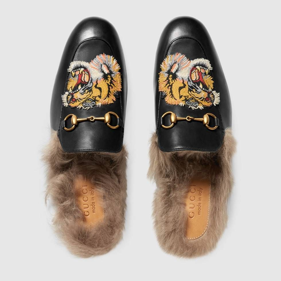 67d7d0b4b Shop the Princetown slipper with tiger by Gucci. The Princetown slipper in  leather with an