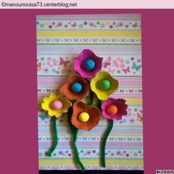 les fleurs boite d'oeufs