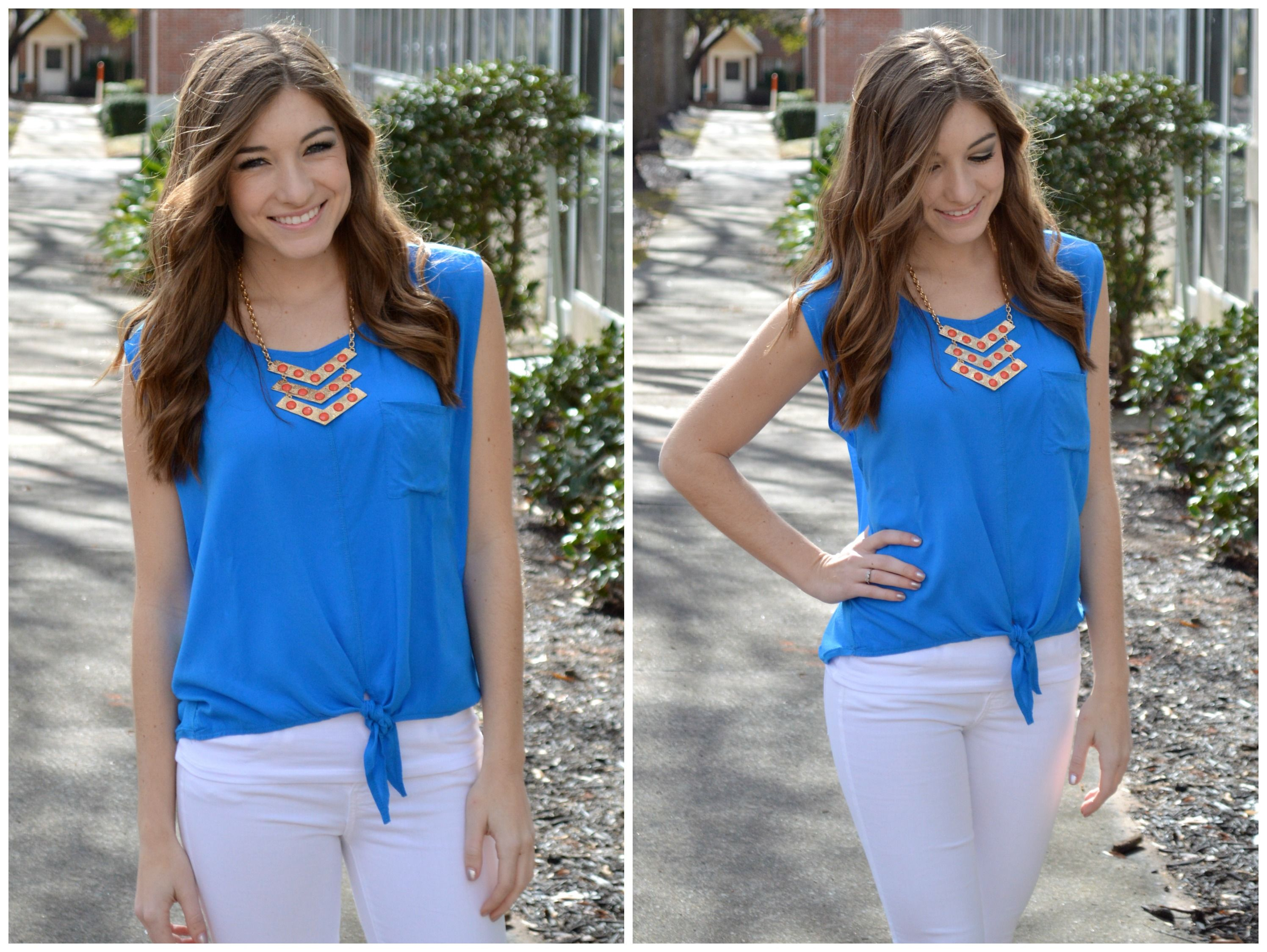 Allie Tank (Blue)  #spring #tank #girly #fashion #boutique