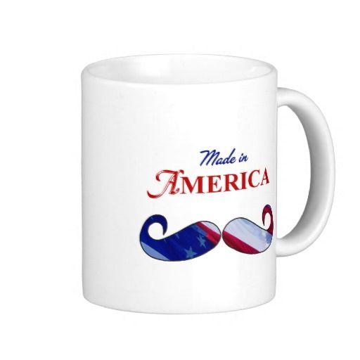 Mustache Made in America red white blue Mug