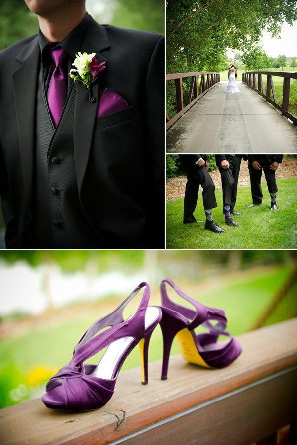 Groom wears black tuxedo, purple tie to match with bride\'s purple ...