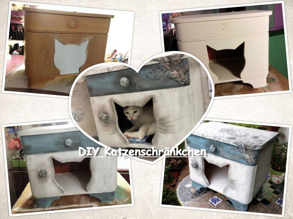 dieses kleine katzenversteck habe ich aus einem alten nachtschrank gewerkelt und liebevoll. Black Bedroom Furniture Sets. Home Design Ideas