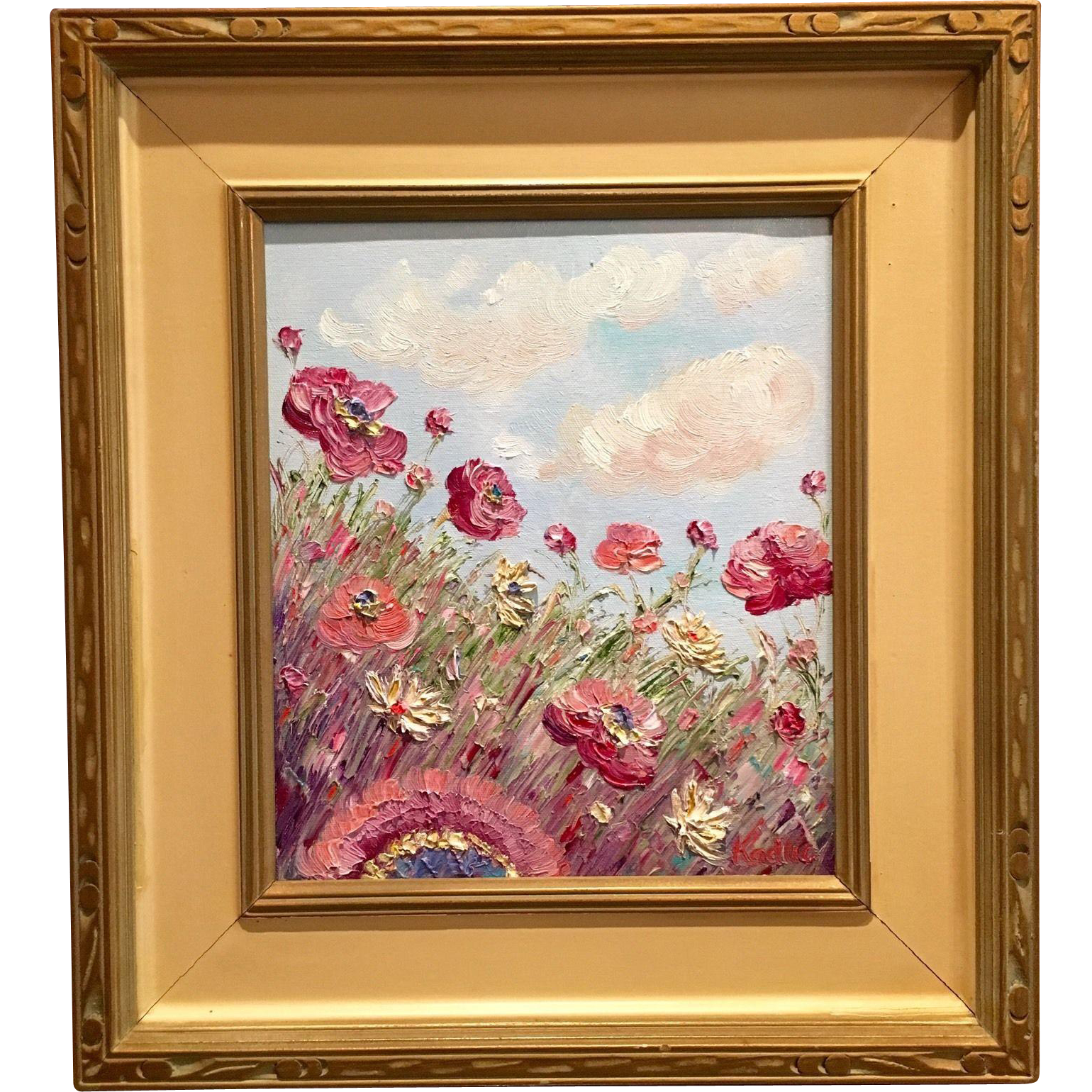 Abstract Wild Poppies In Vintage 1940s Mid Century Modern Frame