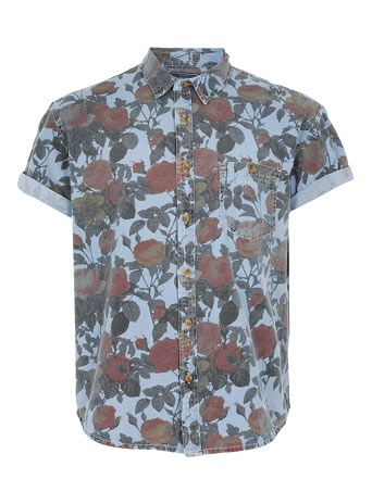 MULTI COLOURED ROSE PRINT OVERSIZED SHORT SLEEVE SHIRT