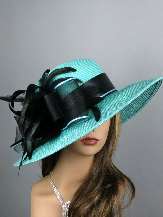 Turquoise Hat Churche Kentucky Derby Hat Wedding Hat Feathers Turguoise Coctail Hat