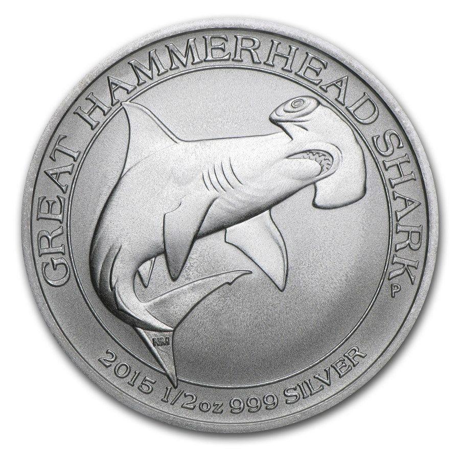 2017 Australia 1 2 Oz Silver Great Hammerhead Shark Bu